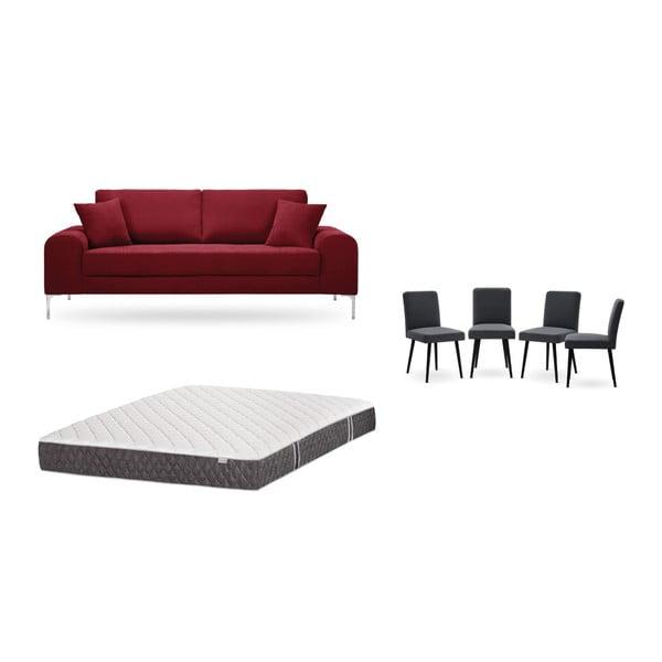 Set canapea roșie cu 3 locuri, 4 scaune gri antracit, o saltea 160 x 200 cm Home Essentials
