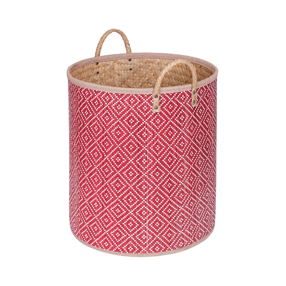 Červený ručně vyráběný koš z palmových listů a'miou home Bonnalisa, výška 38 cm