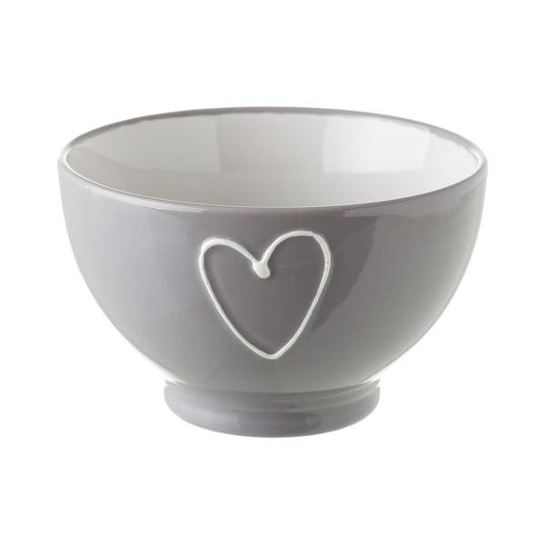 Sivá keramická miska Unimasa Heart, 580 ml