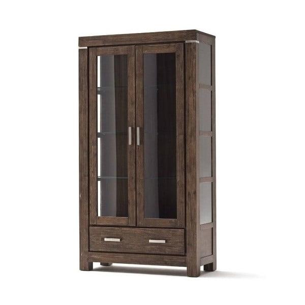 Vitrină cu două uși din lemn de salcâm SOB Sydney, maro închis