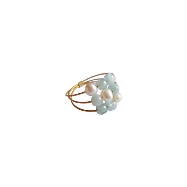 Zlatý prsten Pearl and Aquamarine Confetti, vel. 50 (perly a akvamarín)