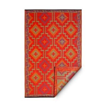 Covor reversibil potrivit pentru exterior, din plastic reciclat Fab Hab Lhasa Orange & Violet, 120 x 180 cm, violet - portocaliu