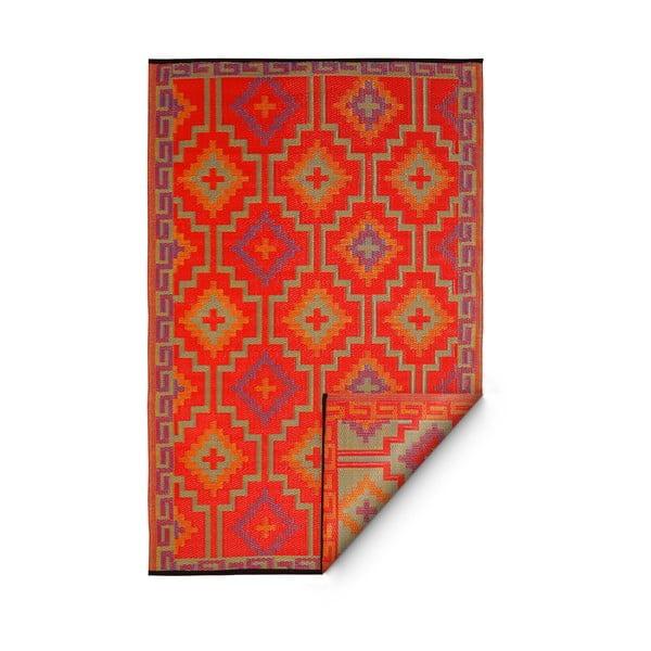 Pomarańczowo-fioletowy dwustronny dywan na zewnątrz z tworzywa sztucznego z recyklingu Fab Hab Lhasa Orange & Violet, 150x240 cm