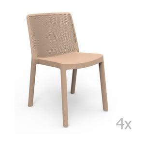 Sada 4 béžových zahradních židlí Resol Fresh