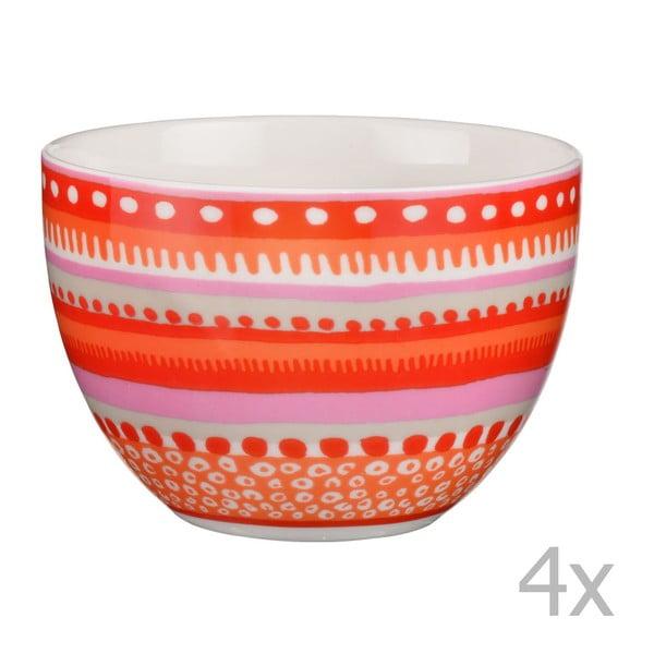 Sada 4 porcelánových misek / hrnků Oilily 10 cm, červená