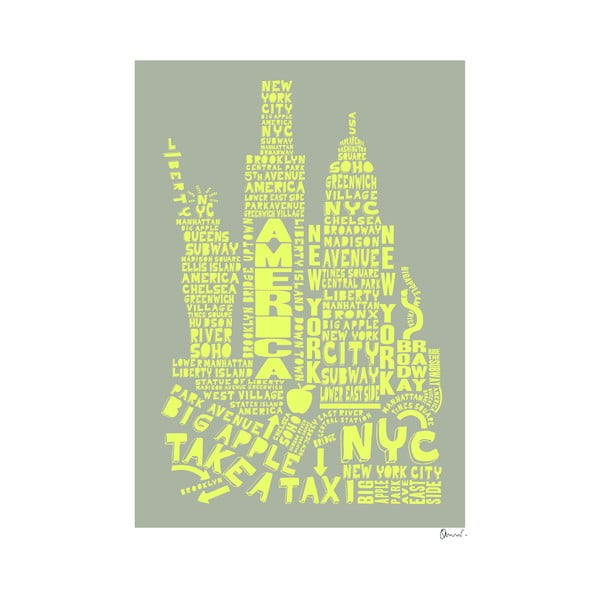 Plakát New York Grey&Yellow, 50x70 cm