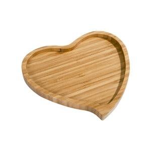 Platou din bambus pentru servire Aminda Heart, lățime 19 cm