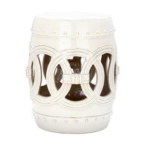 Bílý odkládací keramický stolek vhodný do exteriéru Safavieh Ibiza