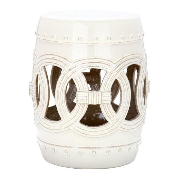 Biely odkladací keramický stolík vhodný do exteriéru Safavieh Ibiza, ø33cm