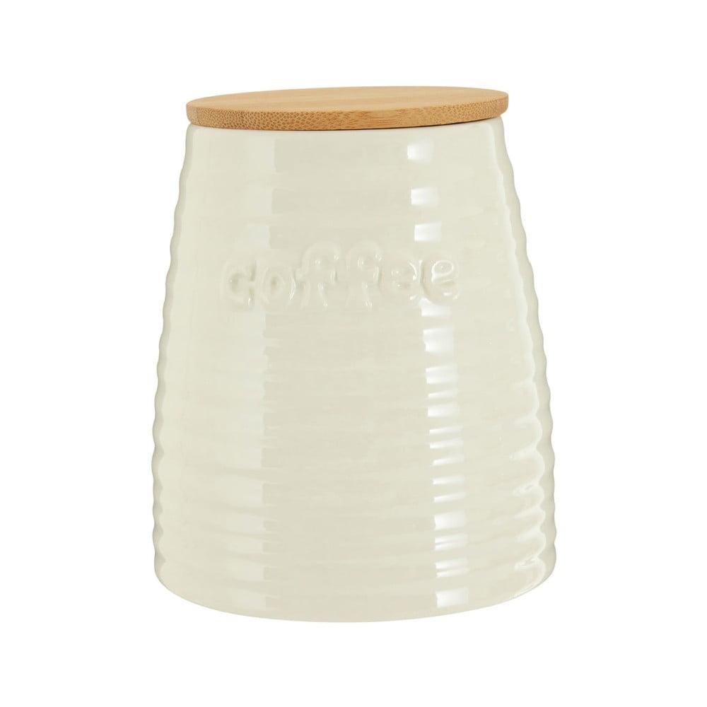 Béžová dóza na kávu s bambusovým víkem Premier Housewares Winnie, 950 ml