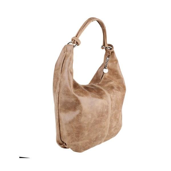Béžová kožená kabelka Chicca Borse Francisca