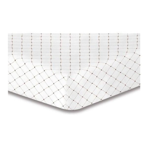 Bílé elastické prostěradlo se vzorem DecoKing Hypnosis Calluna, 90x200cm