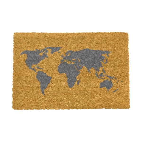 Rohožka z přírodního kokosového vlákna Artsy Doormats World Map,40x60cm