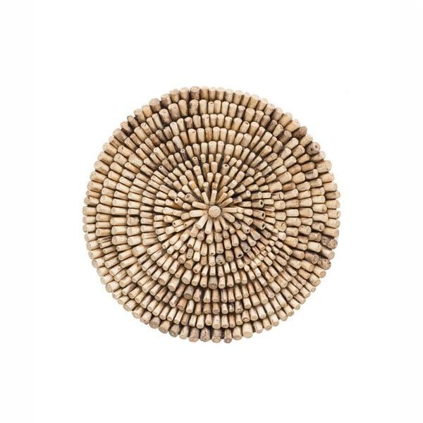 Dekoracja ścienna z drewna tekowego WOOX LIVING Bee, ⌀ 70 cm