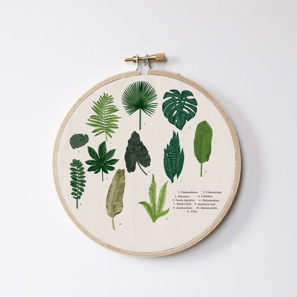 Decorațiune de perete Surdic Stitch Hoop Leafes Index, ⌀ 27 cm