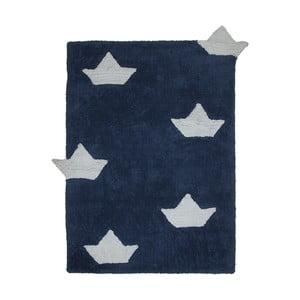 Tmavě modrý bavlněný ručně vyráběný koberec Lorena Canals Boats, 120x160cm