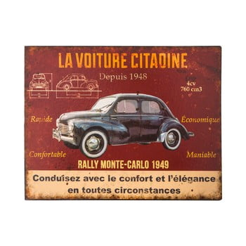 Placă metalică Antic Line La Voiture,28x22cm