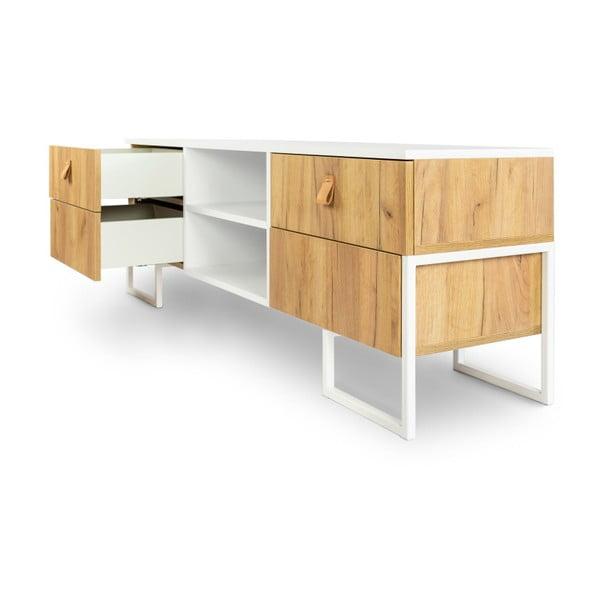 TV komoda se 4 zásuvkami z dubového dřeva SKANDICA Hesse