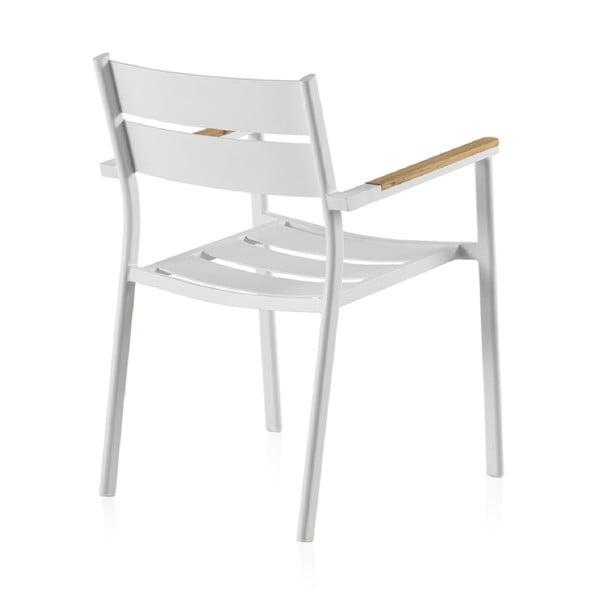 Bílá zahradní židle s týkovým dřevem Geese Giulia, šířka 56 cm