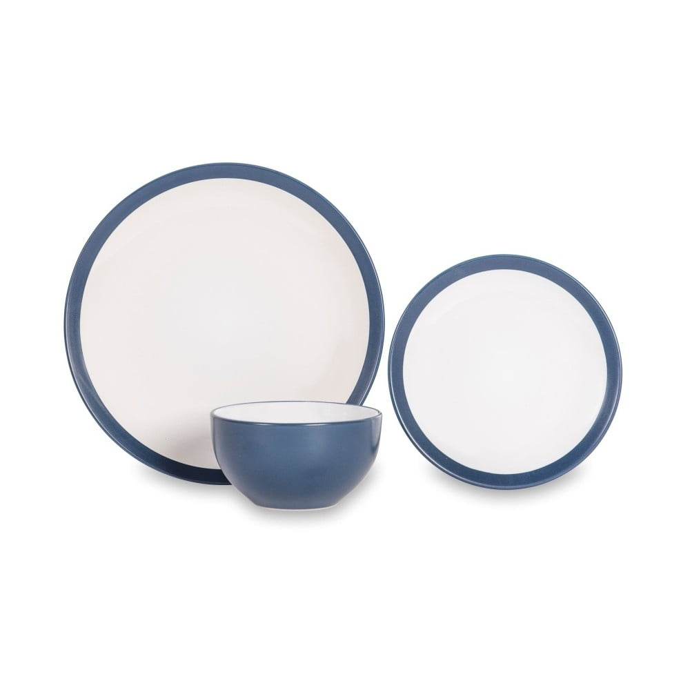 12dílná sada nádobí z porcelánu s modrým okrajem Sabichi Noah
