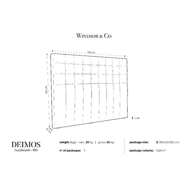 Čelo postele ve stříbrné barvě Windsor & Co Sofas Deimos, 180 x 120 cm