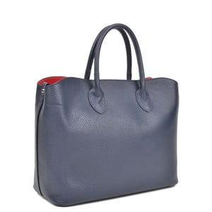 Tmavě modrá kožená kabelka Isabella Rhea Shopping Blu