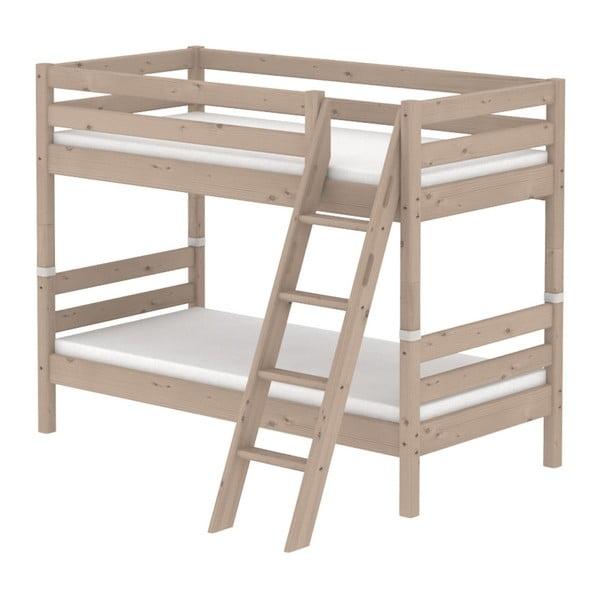 Brązowe dziecięce łóżko piętrowe z drewna sosnowego z drabinką Flexa Classic, 90x200 cm