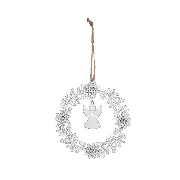 Fehér koszorú formájú karácsonyi dísz - Ego Dekor