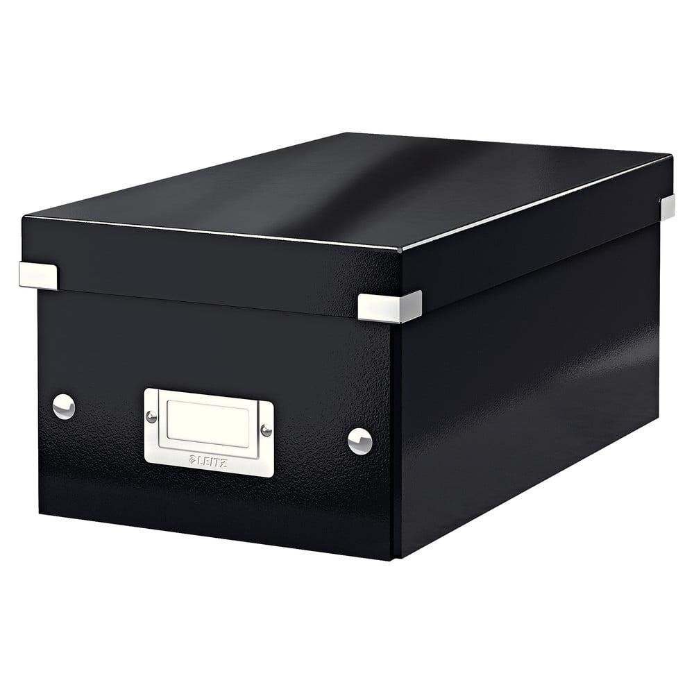 Černá úložná krabice s víkem Leitz DVD Disc, délka 35 cm
