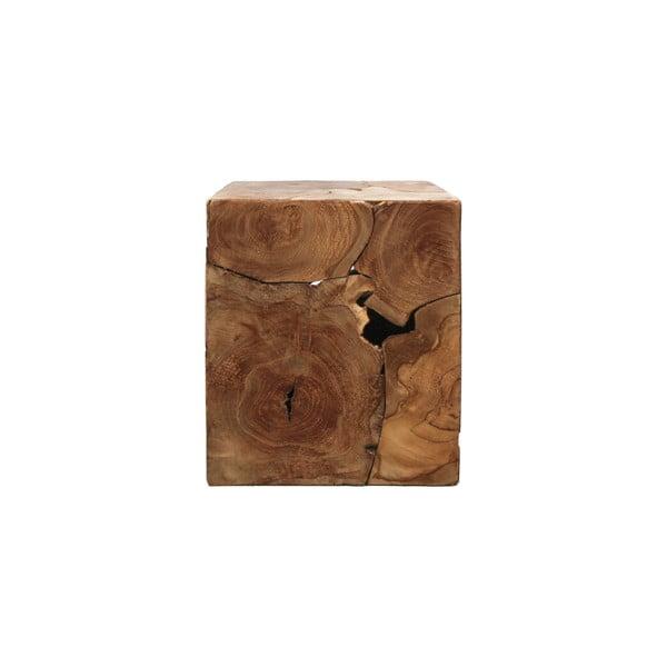 Příruční stolek z teakového dřeva HSM collection Cube, 30 x 35 cm