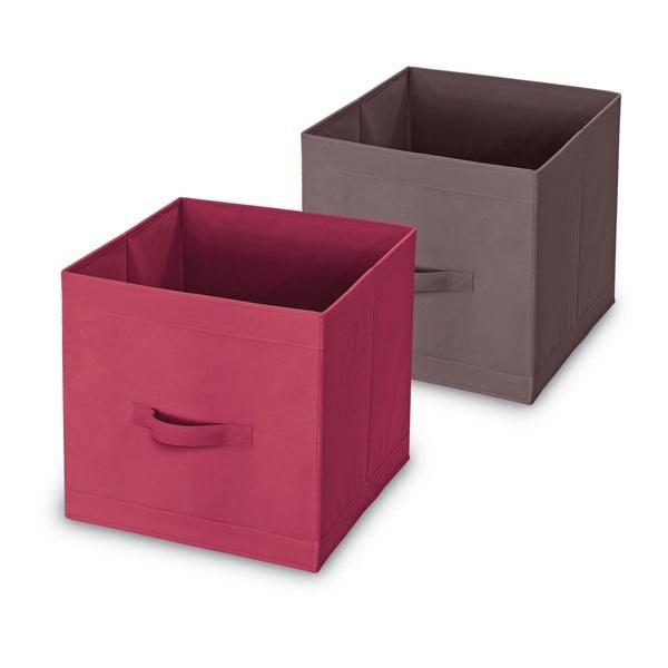 Úložný box s úchyty v rudé barvě Domopak