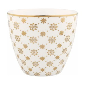 Pahar din ceramică Green Gate Laurie Latté, auriu-alb