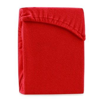 Cearșaf elastic pentru pat dublu AmeliaHome Ruby Red, 200-220 x 200 cm, roșu