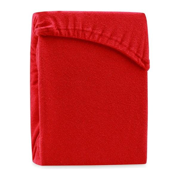 Červené elastické prostěradlo na dvoulůžko AmeliaHome Ruby Red, 180-200 x 200 cm