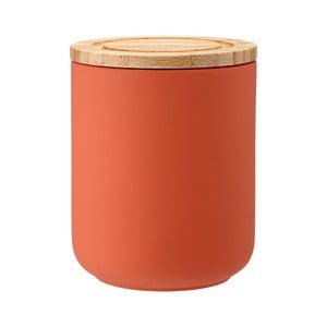 Recipient din ceramică cu capac din lemn de bambus Ladelle Stak, înălțime 13 cm, portocaliu