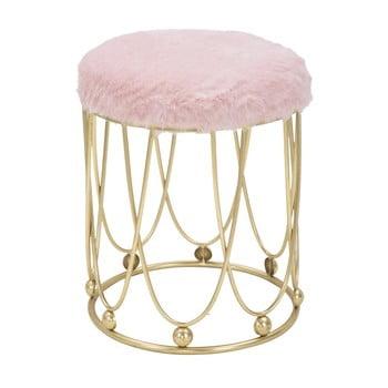 Scaun cu șezut roz și construcție metalică aurie Mauro Ferretti Amelia de la Mauro Ferretti