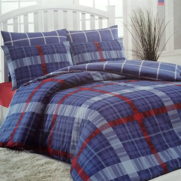 Povlečení Checke Red & Blue, 160x220 cm