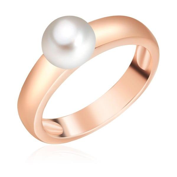 Perlový prsten Maria, rosegold s bílou perlou, vel. 58