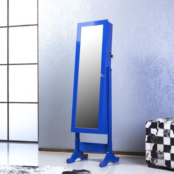 Uzamykatelné stojací zrcadlo se šperkovnicí Nadia, modré