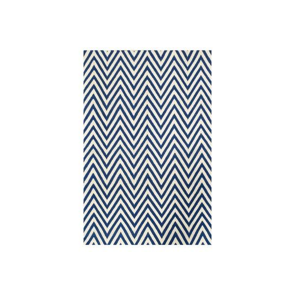 Vlněný koberec Zig Zag Dark Blue, 240x155 cm