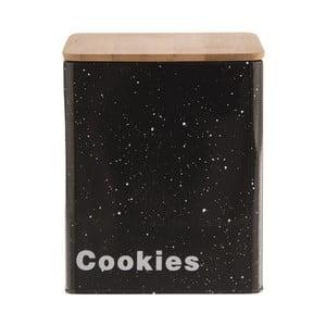 Plechová dóza na sušenky s dřevěným víkem Orion Mramor