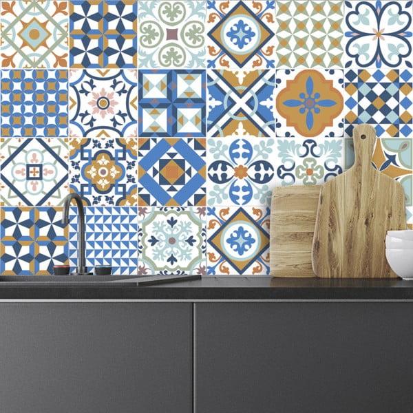 Sada 24 nástenných samolepiek Ambiance Azulejos Ornaments Mosaic, 10 × 10 cm