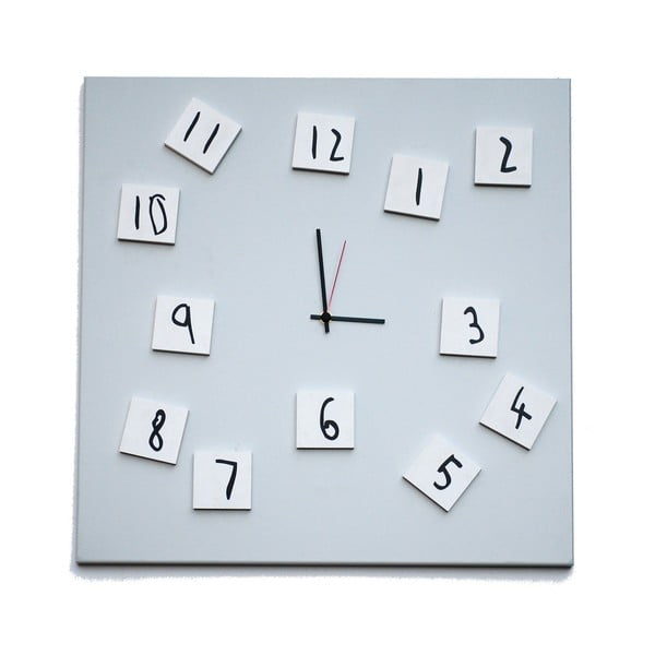 Nástěnné hodiny dESIGNoBJECT.it Changing Clock White, 50 x 50 cm