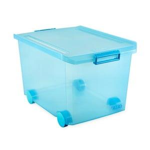 Tyrkysový úložný box na kolečkách s víkem Ta-Tay Storage Box, 60 l