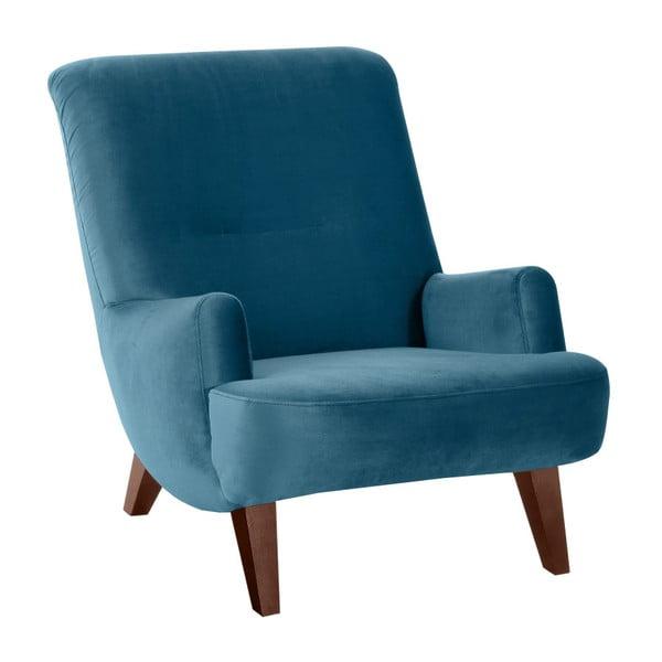 Brandford Suede petróleum kék fotel barna lábakkal - Max Winzer