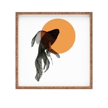 Tavă decorativă din lemn Golden Fish, 40x40cm imagine