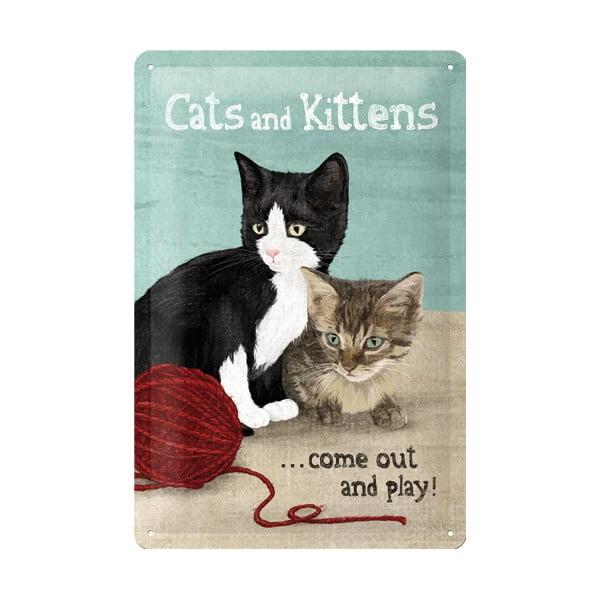 Retro plechová cedule Cats and Kittens, 20x30 cm