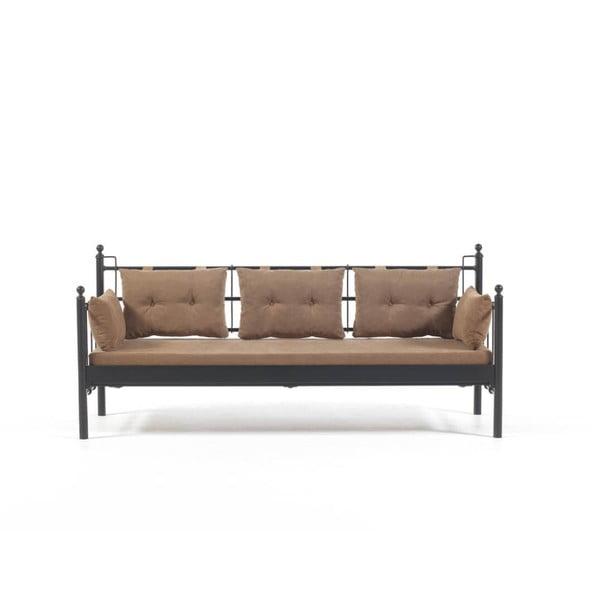 Canapea cu 3 locuri de grădină Lalas DKS, 96 x 209 cm, maro-negru