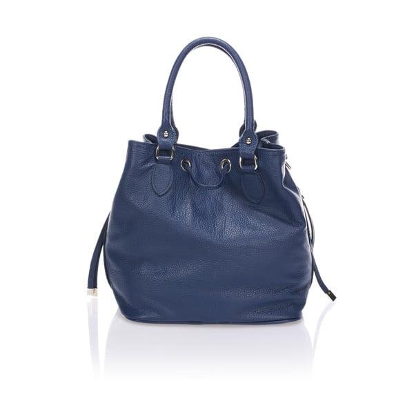 Kožená kabelka Bucketino, modrá