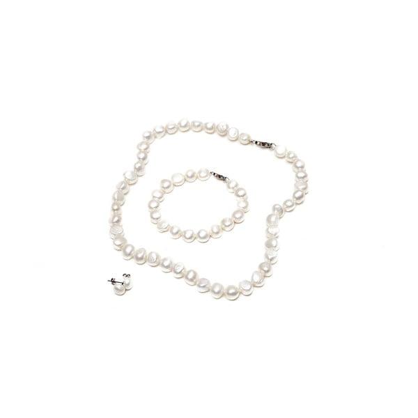 Sada náhrdelníku, náušnic a náramku z říčních perel GemSeller Sericea, bílé perly
